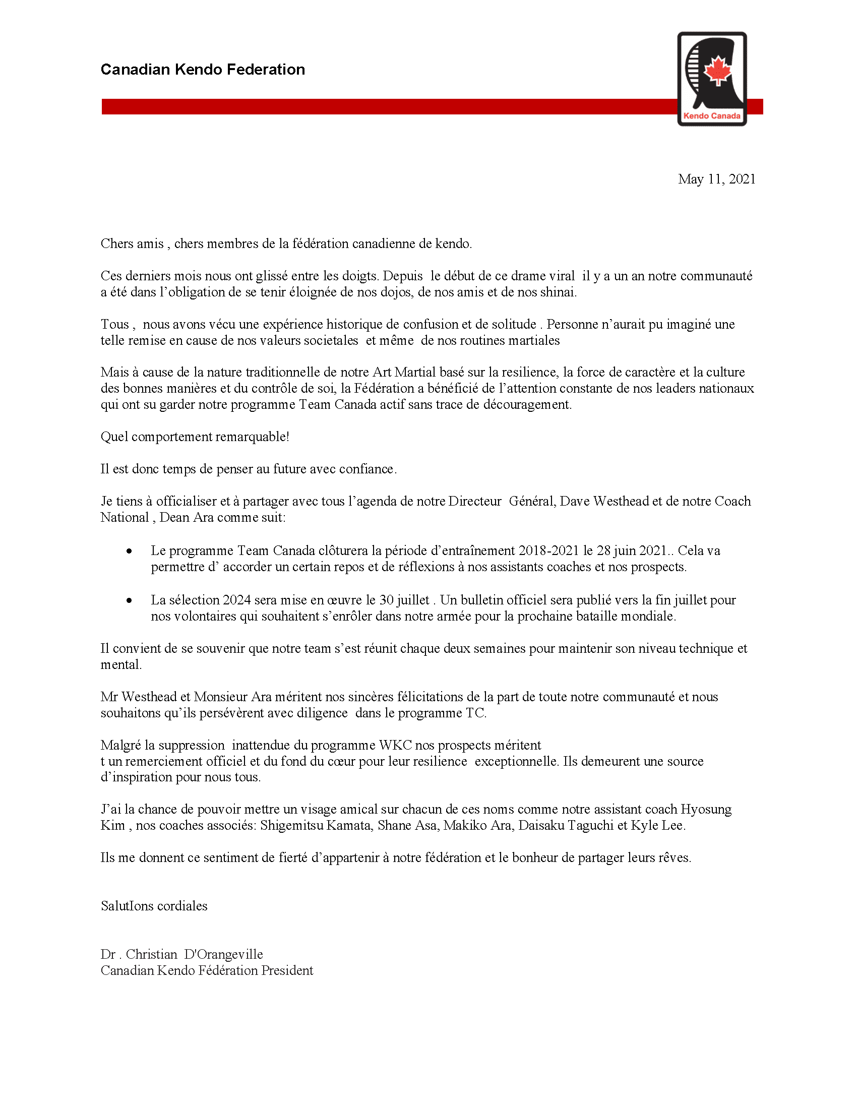 2021 Kendo Team Canada Official Notification of Completion [English]